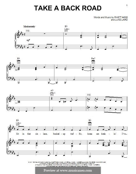 Take a Back Road (Rodney Atkins): Für Stimme und Klavier (oder Gitarre) by Luke Laird, Rhett Akins