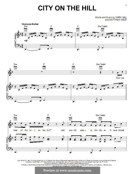 City on the Hill (Casting Crowns): Für Stimme und Klavier (oder Gitarre) by Mark Hall, Matthew West