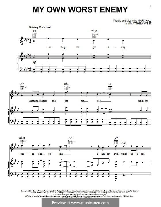 My Own Worst Enemy (Casting Crowns): Für Stimme und Klavier (oder Gitarre) by Mark Hall, Matthew West