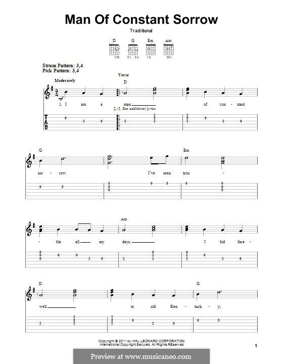 Man of Constant Sorrow: Für Gitarre (Sehr leichte Fassung) by folklore