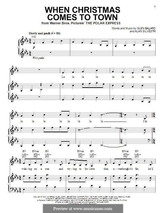 When Christmas Comes to Town: Für Stimme und Klavier (oder Gitarre) by Alan Silvestri