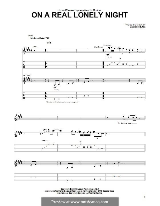On a Real Lonely Night: Für Gitarre mit Tab by Warren Haynes