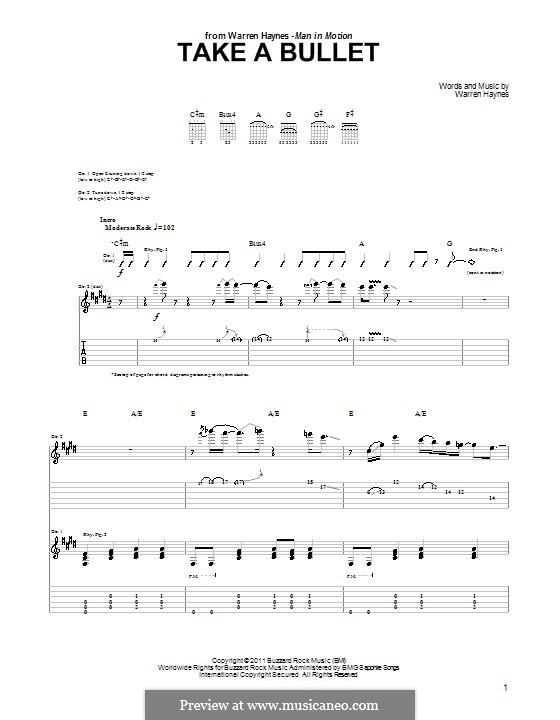 Take a Bullet: Für Gitarre mit Tab by Warren Haynes
