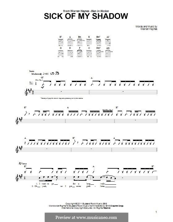 Sick of My Shadow: Für Gitarre mit Tab by Warren Haynes