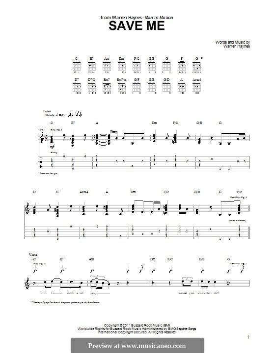 Save Me: Für Gitarre mit Tab by Warren Haynes