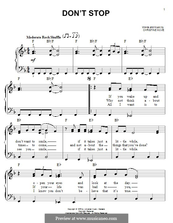 Don't Stop (Fleetwood Mac): Für Klavier, leicht by Christine McVie