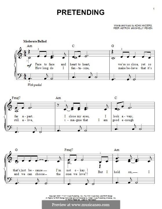 Pretending (Glee Cast): Einfache Noten für Klavier by Adam Anders, Peer Åström, Shelly Peiken