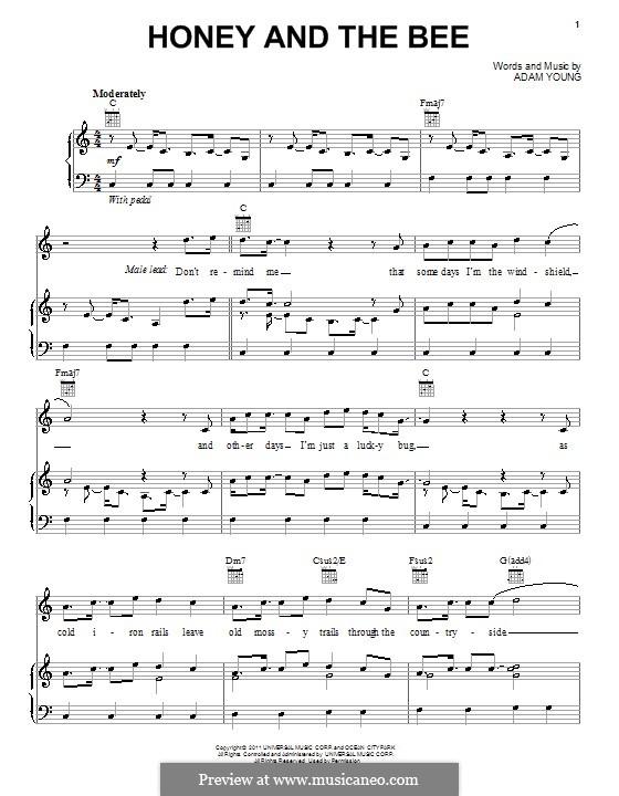 Honey and the Bee (Owl City): Für Stimme und Klavier (oder Gitarre) by Adam Young