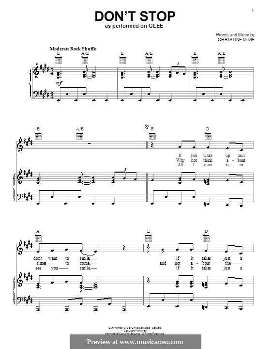 Don't Stop (Fleetwood Mac): Für Stimme und Klavier (oder Gitarre) by Christine McVie