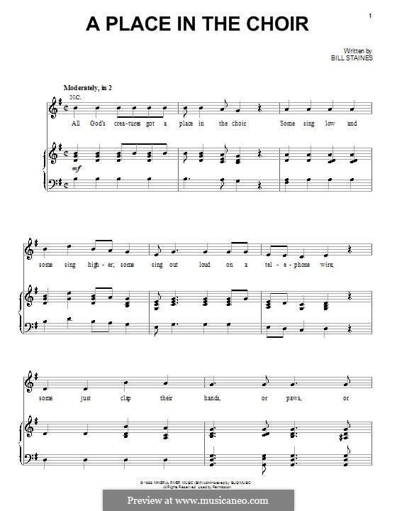 A Place in the Choir (Celtic Thunder): Für Stimme und Klavier (oder Gitarre) by Bill Staines