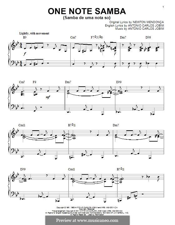 One Note Samba (Samba De Uma Nota): Für Klavier by Antonio Carlos Jobim