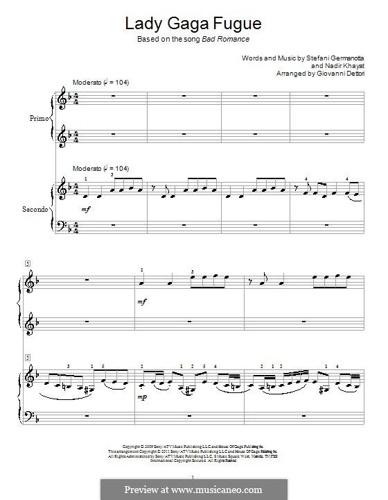Lady Gaga Fugue: Für Klavier, vierhändig by RedOne, Stefani Germanotta
