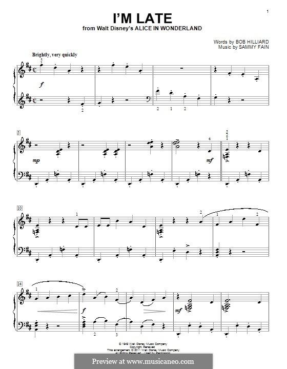 I'm Late: Für Klavier by Sammy Fain