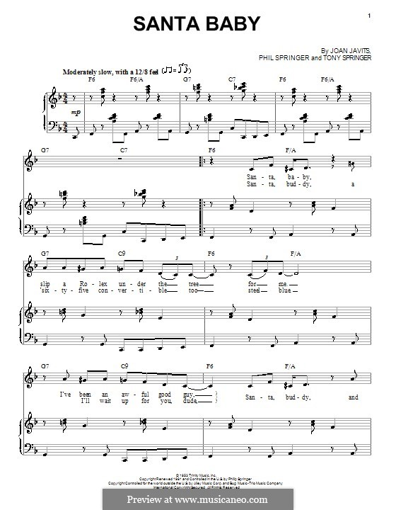 Santa Baby (Eartha Kitt): Für Stimme und Klavier (F-Dur) by Joan Javits, Philip Springer, Tony Springer