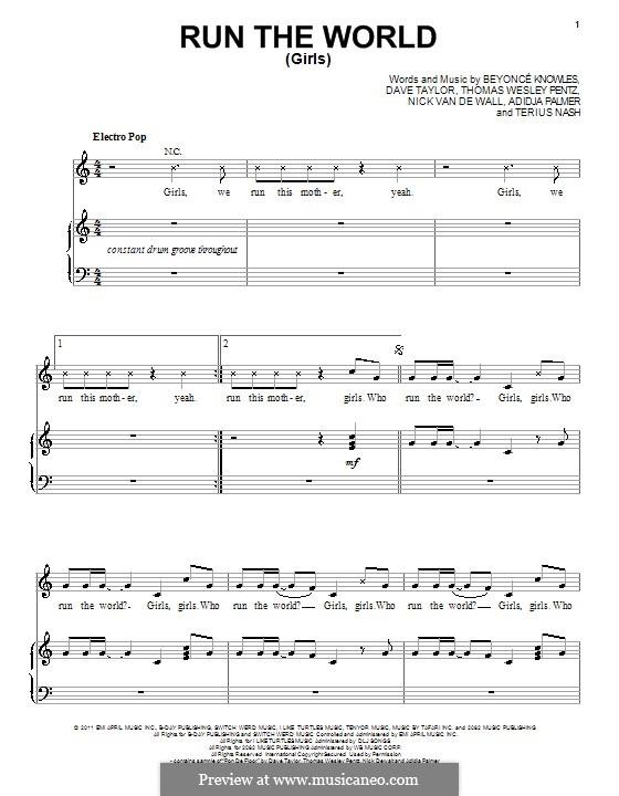 Run the World (Girls): Für Stimme mit Klavier oder Gitarre by Beyoncé, Adidja Palmer, Dave Taylor, Nick van de Wall, Terius Nash, Diplo