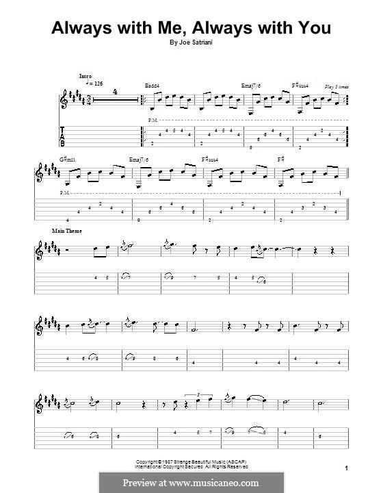 Always with Me, Always with You: Für Gitarre (Sehr leichte Fassung) by Joe Satriani