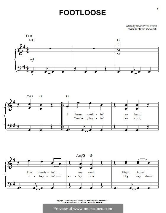 Footloose: Einfache Noten für Klavier by Kenny Loggins
