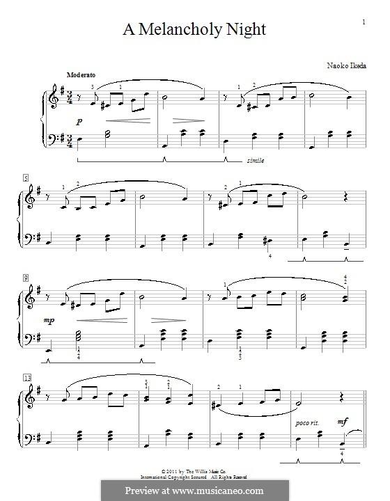 A Melancholy Night: Für Klavier by Naoko Ikeda