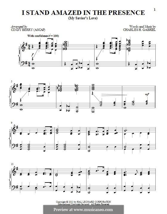 I Stand Amazed in the Presence (My Savior's Love): Für Klavier by Charles Hutchinson Gabriel