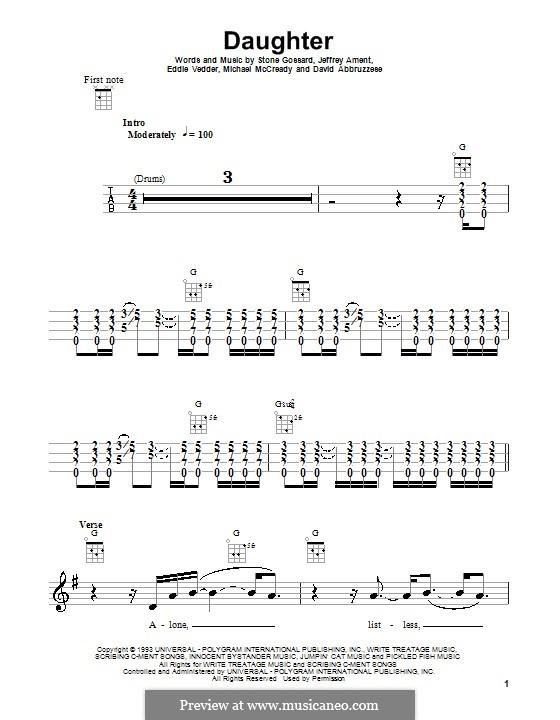 Daughter (Pearl Jam): Für Ukulele by David Abbruzzese, Eddie Vedder, Jeff Ament, Mike McCready, Stone Gossard