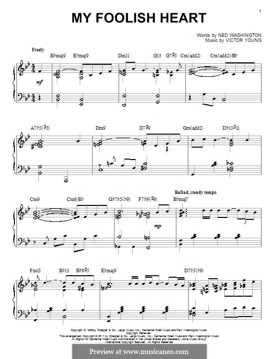 My Foolish Heart: Für Klavier by Victor Young