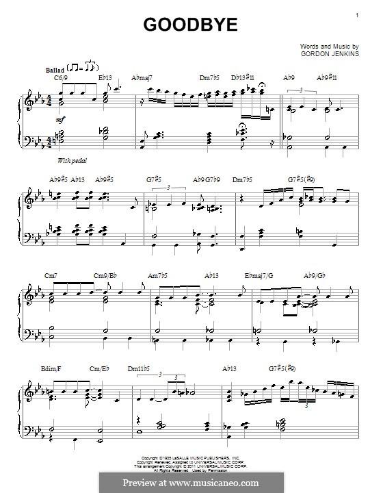 Goodbye (Bill Evans): Für Klavier by Gordon Jenkins