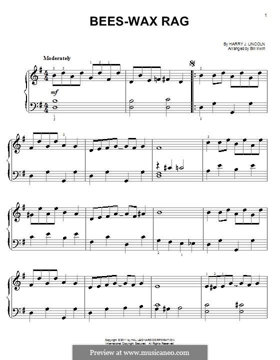Bees-Wax Rag: Einfache Noten für Klavier by Harry J. Lincoln