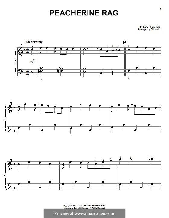 Peacherine Rag: Für Klavier, leicht by Scott Joplin