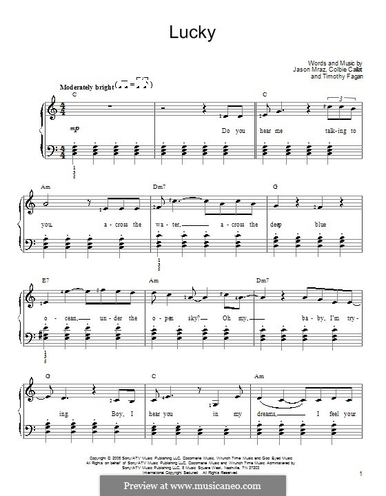 Lucky: Für Klavier, leicht by Colbie Caillat, Jason Mraz, Timothy Fagan