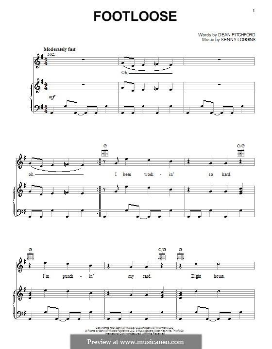 Footloose: Für Stimme und Klavier (oder Gitarre) by Kenny Loggins
