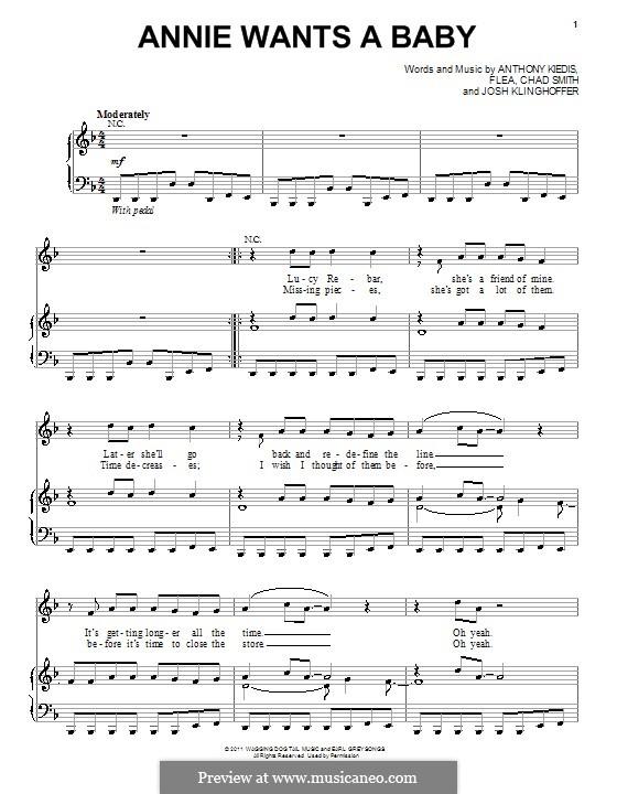 Annie Wants a Baby (Red Hot Chili Peppers): Für Stimme und Klavier (oder Gitarre) by Flea, Anthony Kiedis, Chad Smith, Josh Klinghoffer