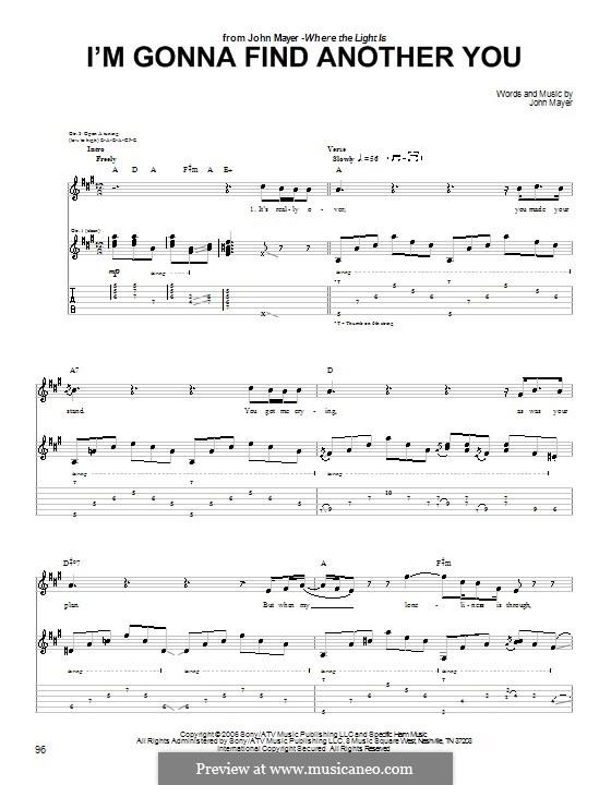I'm Gonna Find Another You: Für Gitarre mit Tabulatur by John Mayer