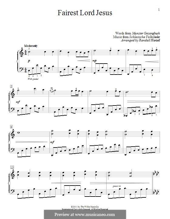 Fairest Lord Jesus: Für Klavier (C-Dur) by folklore