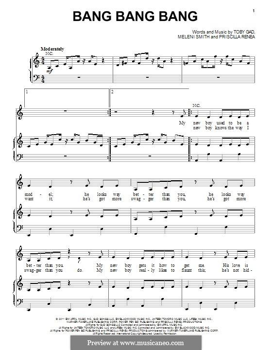 Bang Bang Bang (Selena Gomez): Für Stimme und Klavier (oder Gitarre) by Meleni Smith, Priscilla Renea Hamilton, Tobias Gad