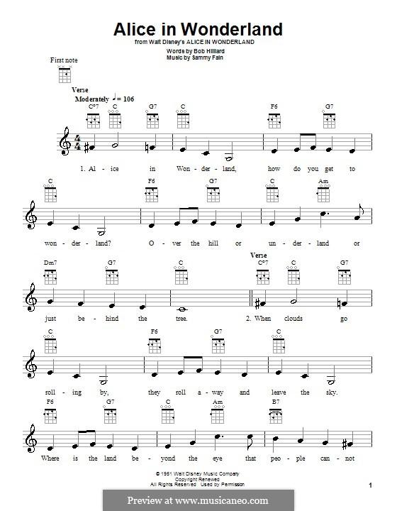 Alice in Wonderland (Bill Evans): Für Ukulele by Bob Hilliard, Sammy Fain