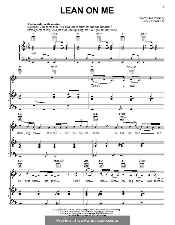 Lean on Me: Für Stimme und Klavier (oder Gitarre) by Kirk Franklin