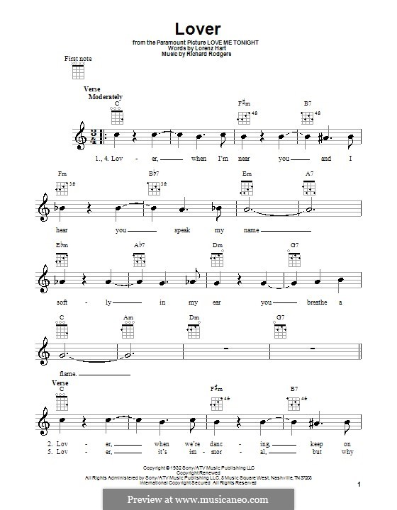 Lover: Für Ukulele by Richard Rodgers
