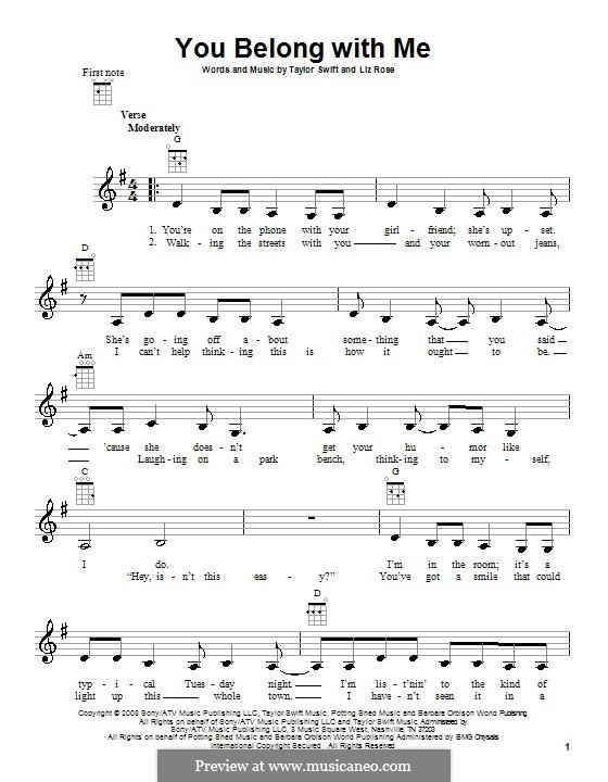 You Belong with Me (Taylor Swift): Für Ukulele by Liz Rose