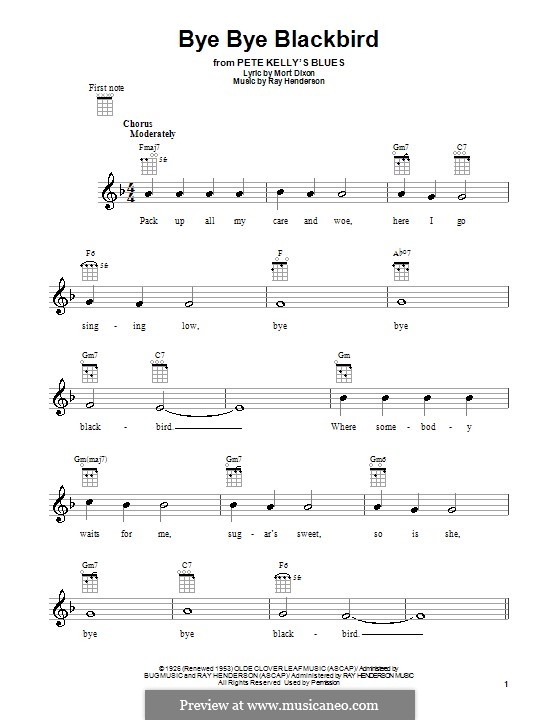 Bye Bye Blackbird: Für Ukulele by Ray Henderson