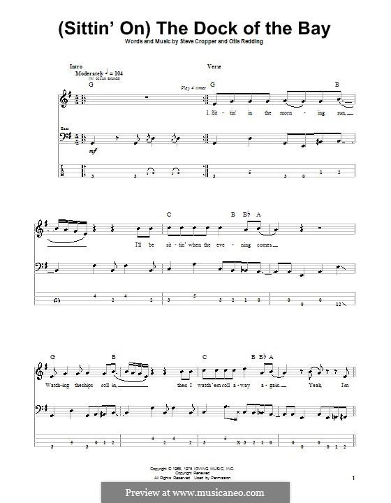 (Sittin' On) The Dock of the Bay: Für Bassgitarre mit Tabulatur by Otis Redding, Steve Cropper