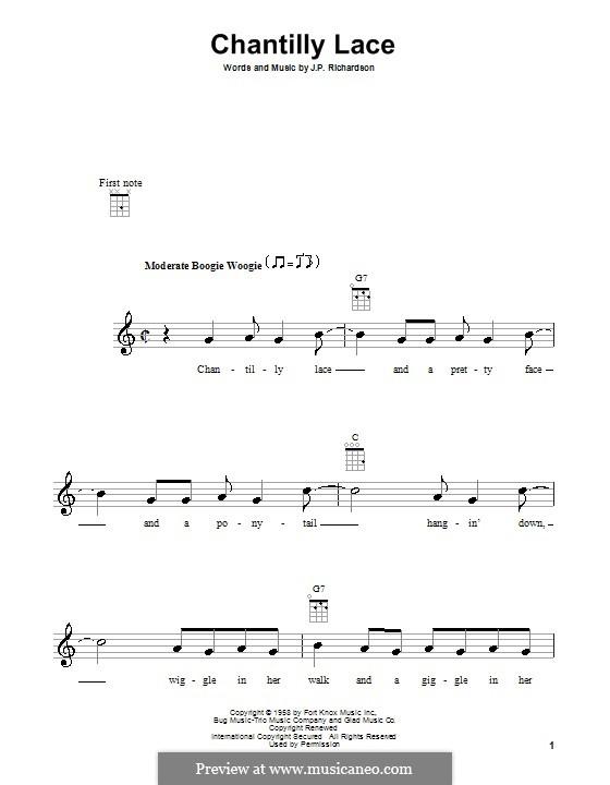Chantilly Lace (The Big Bopper): Für Ukulele by J.P. Richardson