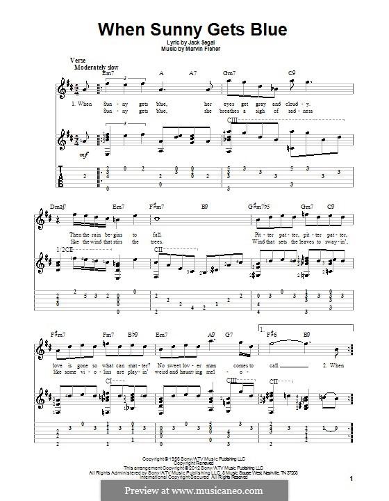 When Sunny Gets Blue (Frank Sinatra): Für Gitarre mit Tabulatur by Marvin Fisher