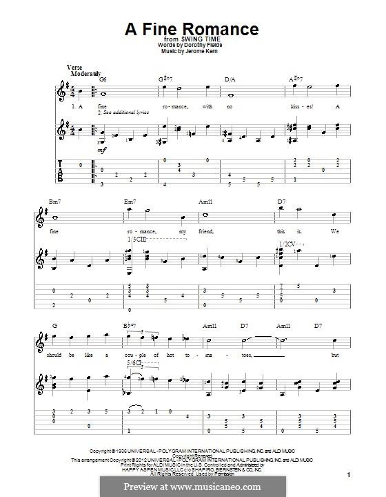 A Fine Romance: Für Gitarre mit Tabulatur by Jerome Kern