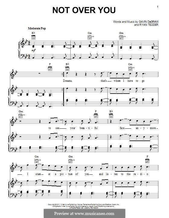 Not Over You: Für Stimme und Klavier (oder Gitarre) by Ryan B Tedder
