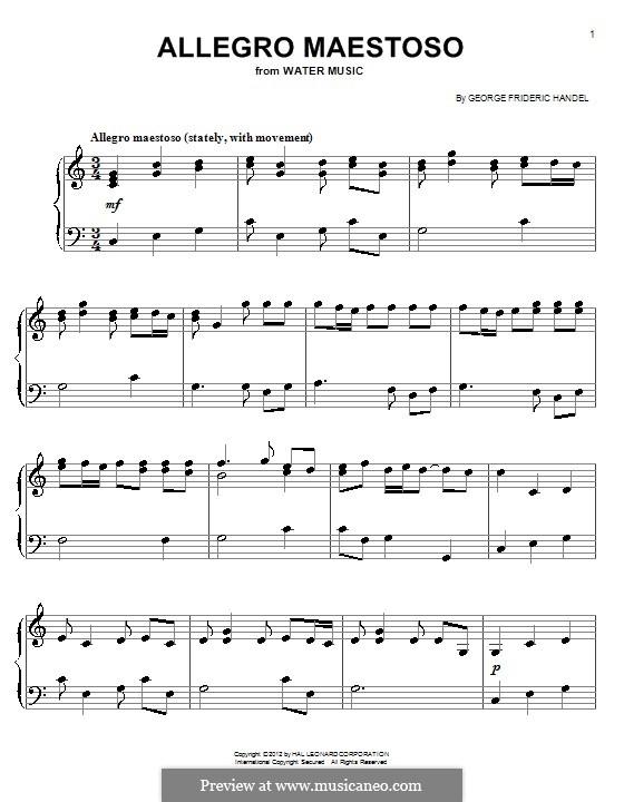 Suite Nr.1 in F-Dur, HWV 348: Allegro, einfache Noten für Klavier by Georg Friedrich Händel