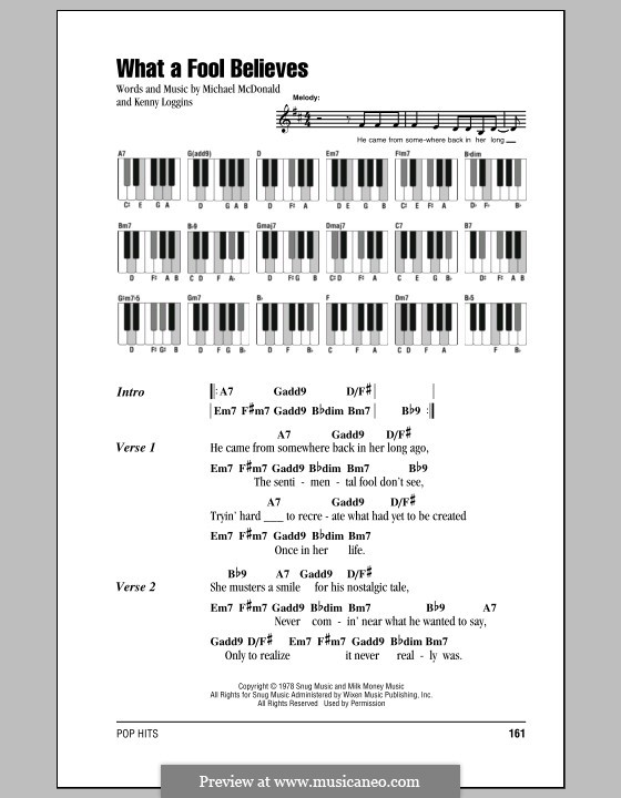 What a Fool Believes (The Doobie Brothers): Text und Akkorde für Klavier by Kenny Loggins, Michael McDonald