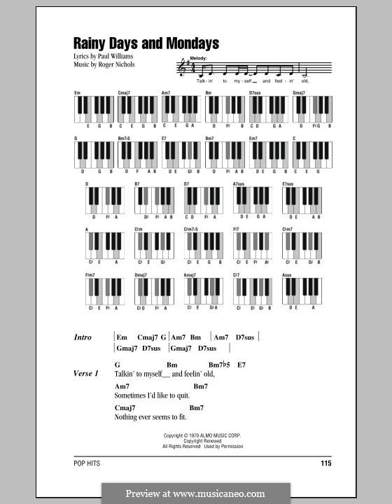 Rainy Days and Mondays (Carpenters): Text und Akkorde für Klavier by Paul H. Williams, Roger Nichols