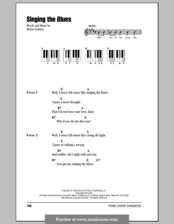 Singing the Blues: Text und Akkorde für Klavier (Guy Mitchell) by Melvin Endsley