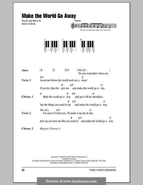 Make the World Go Away (Eddy Arnold): Text und Akkorde für Klavier by Hank Cochran