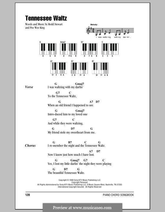 Tennessee Waltz (Patty Page): Text und Akkorde für Klavier by Pee Wee King, Redd Stewart